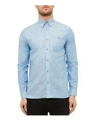 Ted Baker - Blue Linen-cotton Regular Fit Button Down Shirt for Men - Lyst