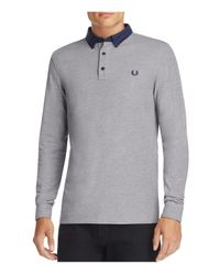 Fred Perry | Gray Oxford Collar Slim Fit Polo Shirt for Men | Lyst