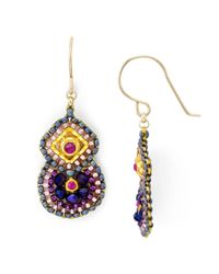 Miguel Ases | Metallic Beaded Double Drop Earrings | Lyst