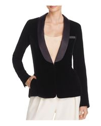 Elizabeth and James | Black Ambrose Satin Lapel Velvet Blazer | Lyst
