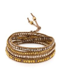Chan Luu - Metallic Beaded Wrap Bracelet - Lyst