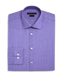 John Varvatos | Purple Thin Stripe Dobby Slim Fit Dress Shirt for Men | Lyst