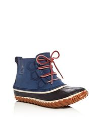 Sorel | Blue Out N About Waterproof Embossed Leather Lace Up Duck Booties | Lyst