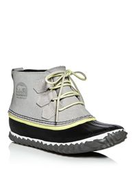 Sorel | White Out N About Waterproof Embossed Leather Lace Up Duck Booties | Lyst