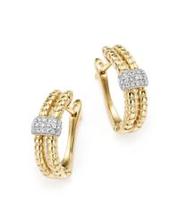 KC Designs | Metallic Diamond Double Row Hoop Earrings In 14k Yellow Gold, .18 Ct. T.w. - 100% Exclusive | Lyst