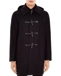 Sandro | Black Wool Cashmere Blend Hooded Duffle Coat for Men | Lyst