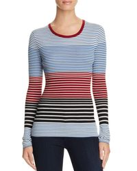 Theory | Blue Ribbed Merino Wool Striped Sweater | Lyst