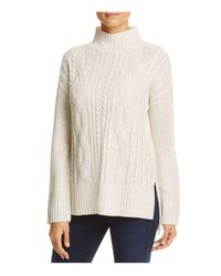 Sanctuary | White Mock Neck Cable Knit Sweater | Lyst