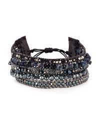 Chan Luu | Black Beaded Crystal & Leather Bracelet | Lyst