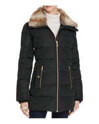 MICHAEL Michael Kors | Black Faux Fur-trimmed Coat | Lyst
