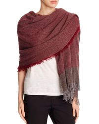 Eileen Fisher | Multicolor Color Block Wool Fringe Wrap | Lyst
