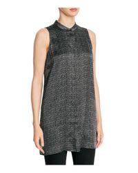 Eileen Fisher | Black Mandarin Collar Dotted Silk Tunic | Lyst