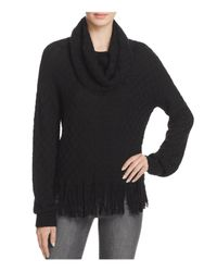 Ella Moss | Black Cowl Neck Fringe-hem Sweater | Lyst