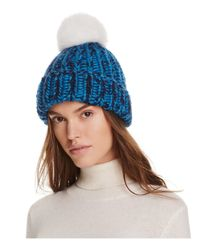 Eugenia Kim | Blue Rain Beanie With Arctic Fox Fur Pom-pom | Lyst