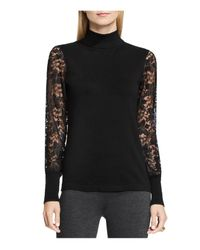 Vince Camuto - Black Lace Sleeve Turtleneck Top - Lyst