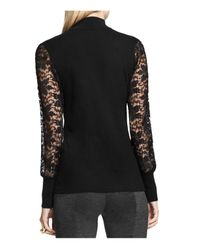 Vince Camuto | Black Lace Sleeve Turtleneck Top | Lyst