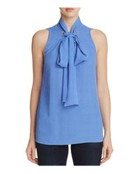 MICHAEL Michael Kors   Blue Tie-neck Blouse   Lyst