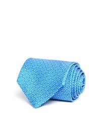 Ferragamo | Blue Abstract Gancini Chain Print Classic Tie for Men | Lyst