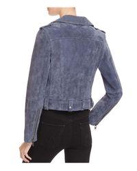 Blank NYC - Blue Suede Moto Jacket - Lyst