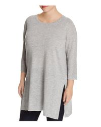 Eileen Fisher | Gray Side-slit Tunic Sweater | Lyst