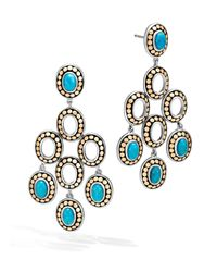 John Hardy   Blue Sterling Silver And 18k Bonded Gold Dot Chandelier Earrings With Turquoise   Lyst