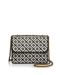 Tory Burch | Black Robinson Woven Quilted Convertible Shoulder Bag | Lyst