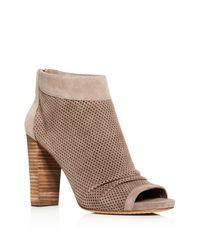 Vince Camuto | Brown Cosima Peep Toe High Heel Booties | Lyst