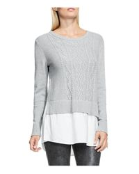 Vince Camuto | Gray Cable Knit Pullover Sweater With Rumpled Shirttail | Lyst