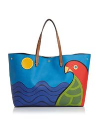 Tory Burch | Blue Kerrington Parrot Square Tote | Lyst