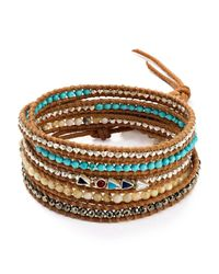 Chan Luu | Brown Turquoise Mix Wrap Bracelet | Lyst