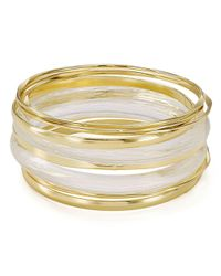 Aqua - Metallic Bangle Bracelets - Lyst