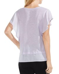 Vince Camuto - Purple Ruffle Sleeve Top - Lyst