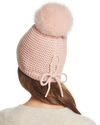 Kyi Kyi - Pink Slouchy Hat With Fox Fur Pom-pom - Lyst