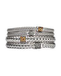 John Hardy | Metallic Sterling Silver Classic Chain Extra Small Bracelet With Mixed Mandarin Garnet | Lyst