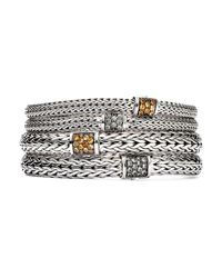John Hardy | Metallic Sterling Silver Classic Chain Medium Bracelet With Mixed Mandarin Garnet | Lyst