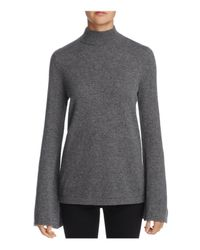 Aqua | Gray Cashmere Peakneck Bell Sleeve Sweater | Lyst