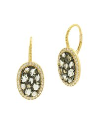 Freida Rothman - Metallic Rose D'or Pavé Cluster Drop Earrings - Lyst