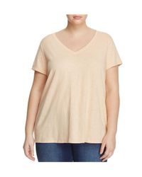 Eileen Fisher | Natural V-neck Short Sleeve Tee | Lyst