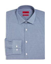 HUGO | Blue Micro Gingham Check Slim Fit Dress Shirt for Men | Lyst