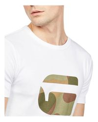 G-Star RAW - White Mai Slim Fit Logo Tee for Men - Lyst