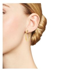 Roberto Coin - Metallic 18k Yellow Gold Martellato Hoop Earrings - Lyst