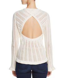 Aqua - White Cutout Pointelle Sweater - Lyst