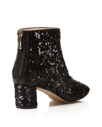 Kate Spade | Black Tal Sequin Block Heel Booties | Lyst