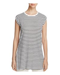 Eileen Fisher | Black Striped Organic Linen Round Neck Tunic | Lyst