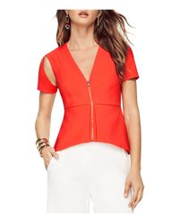 BCBGMAXAZRIA | Red Haven Cold Shoulder Zip Front Top | Lyst