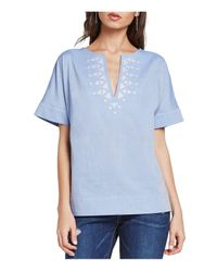 BCBGeneration | Blue Embroidered Short-sleeve Top | Lyst