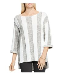 Two By Vince Camuto | White Marled Box Stripe Pullover | Lyst