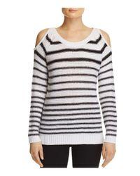 Aqua | Multicolor Stripe Cold Shoulder Sweater | Lyst
