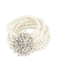 Carolee - White Drama Stretch Beaded Bracelet - Lyst