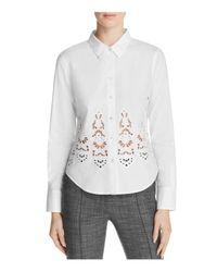 Theory | White Weylend Embroidered Poplin Shirt | Lyst